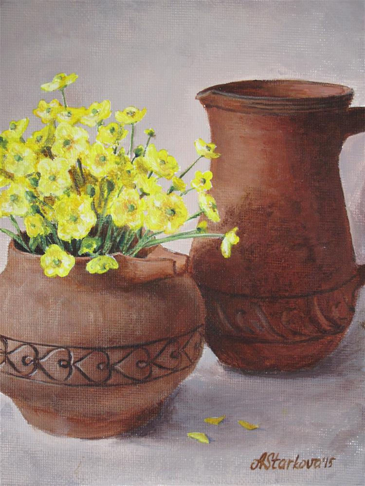 """Terracotta and Yellow"" original fine art by Anna Starkova"