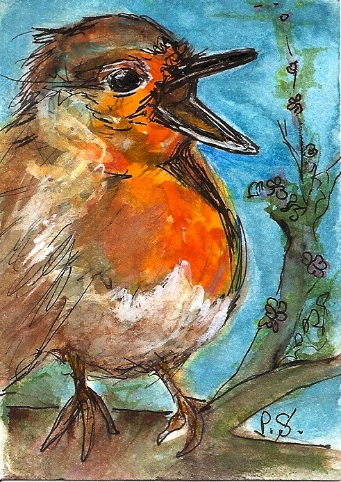 """ACEO Hungry Baby Robin Original WC Pen Painting illustration Penny StewArt"" original fine art by Penny Lee StewArt"