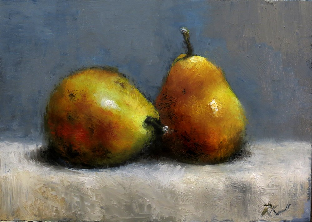 """""""Two Pears on the Table"""" original fine art by Bob Kimball"""