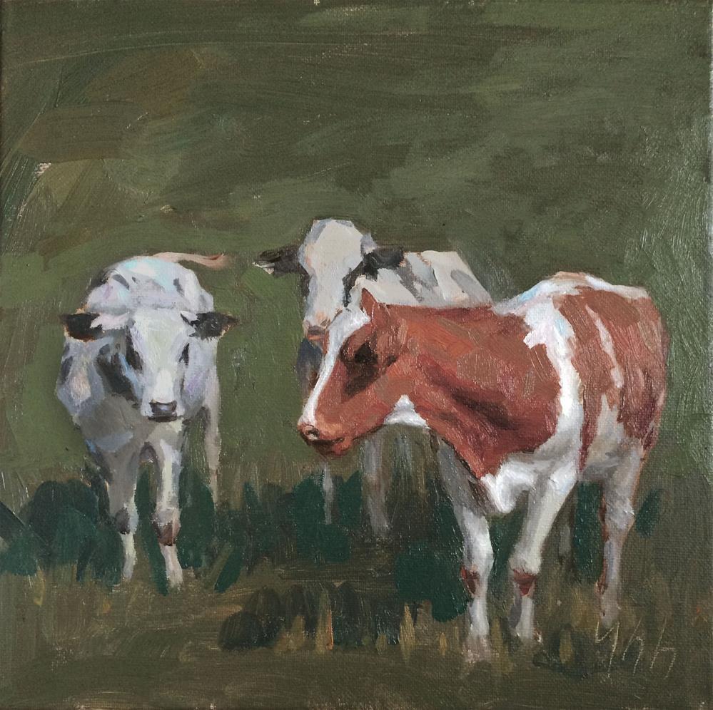 """cow"" original fine art by Yuehua He"