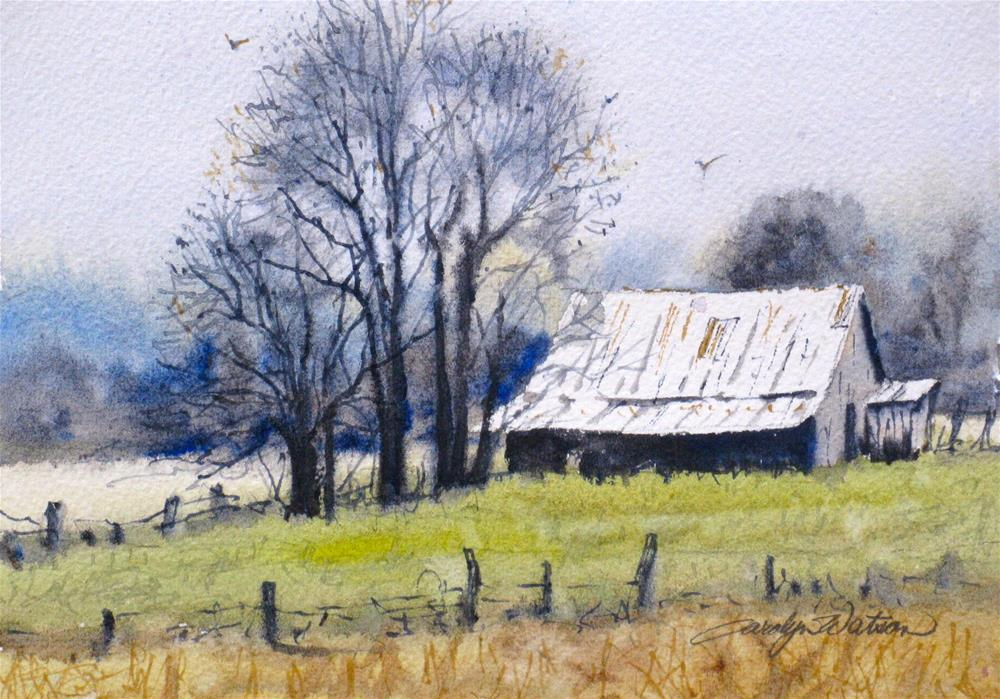 """Winter Farm"" original fine art by carolyn watson"