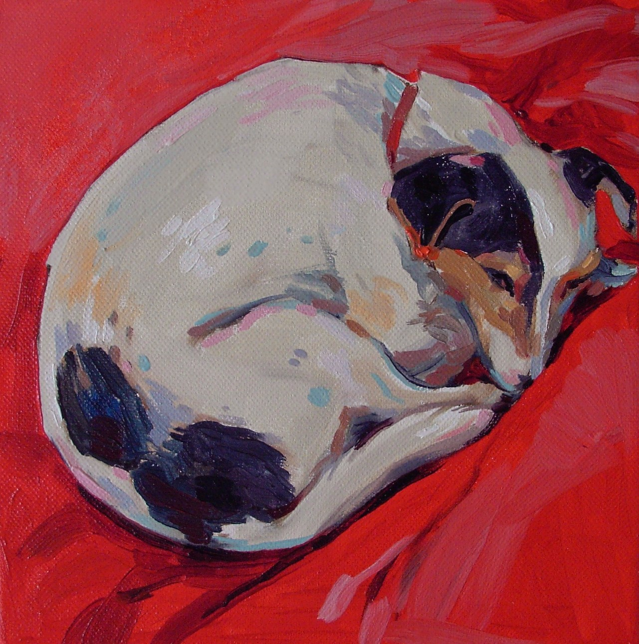 """Maisie in red"" original fine art by Haidee-Jo Summers ROI"