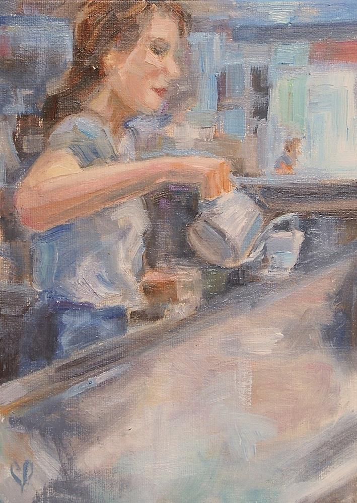 """Barista, Original oil by Carol DeMumbrum"" original fine art by Carol DeMumbrum"