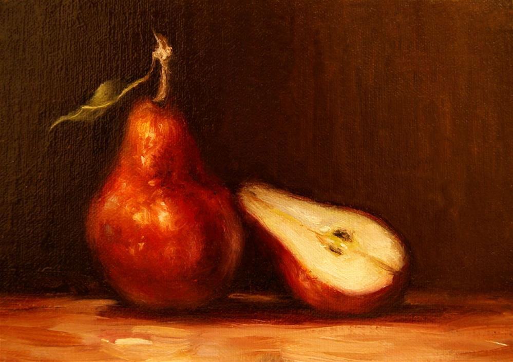 """Red Pear with Pear Half,  Oil on 5x7 Linen Panel"" original fine art by Carolina Elizabeth"