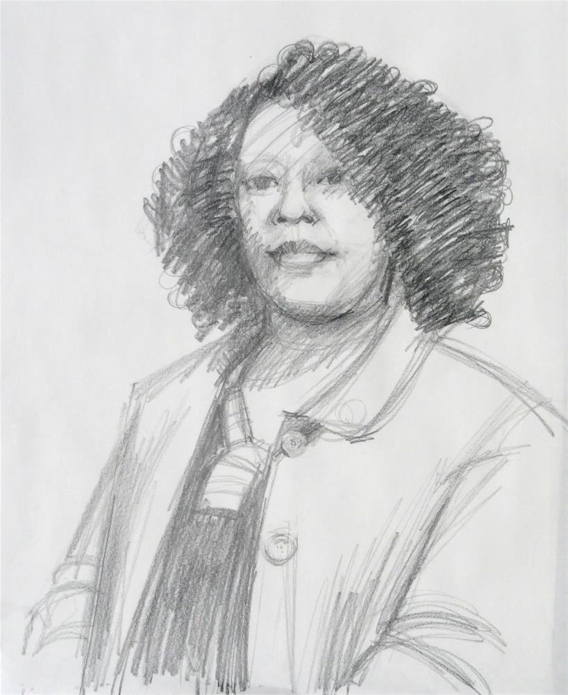 """Lovely Lady,portrait,gaphite pencil on paper,24x18,price$100"" original fine art by Joy Olney"