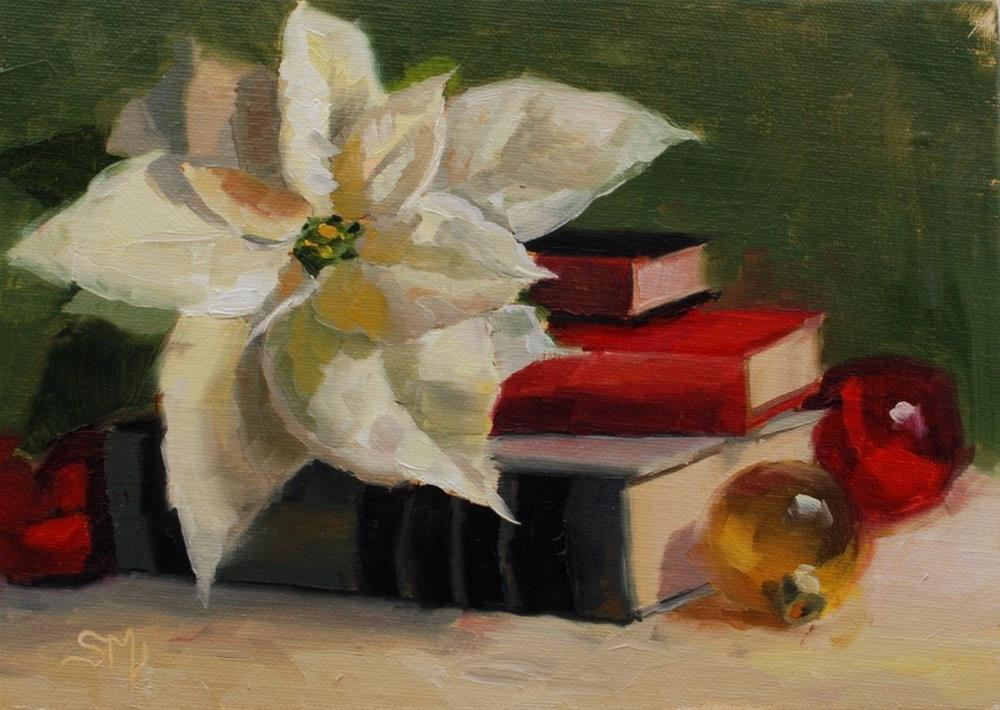 """No. 537 Poinsettia Reposing on Books"" original fine art by Susan McManamen"