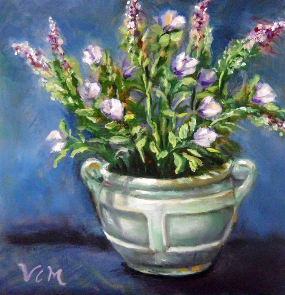 """Shades of Green & Lavender"" original fine art by Vana Meyers"
