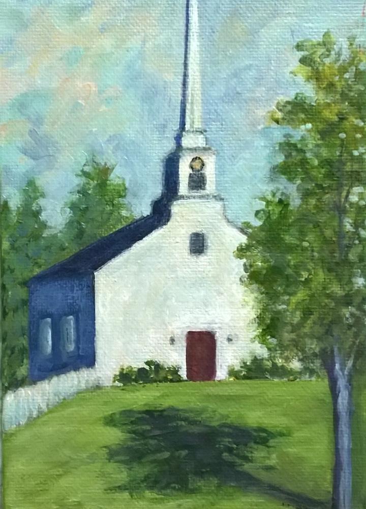 """Little White Church"" original fine art by Joan Matero"