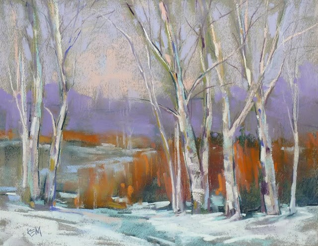 """Painting Snow with Almost White Pastels"" original fine art by Karen Margulis"