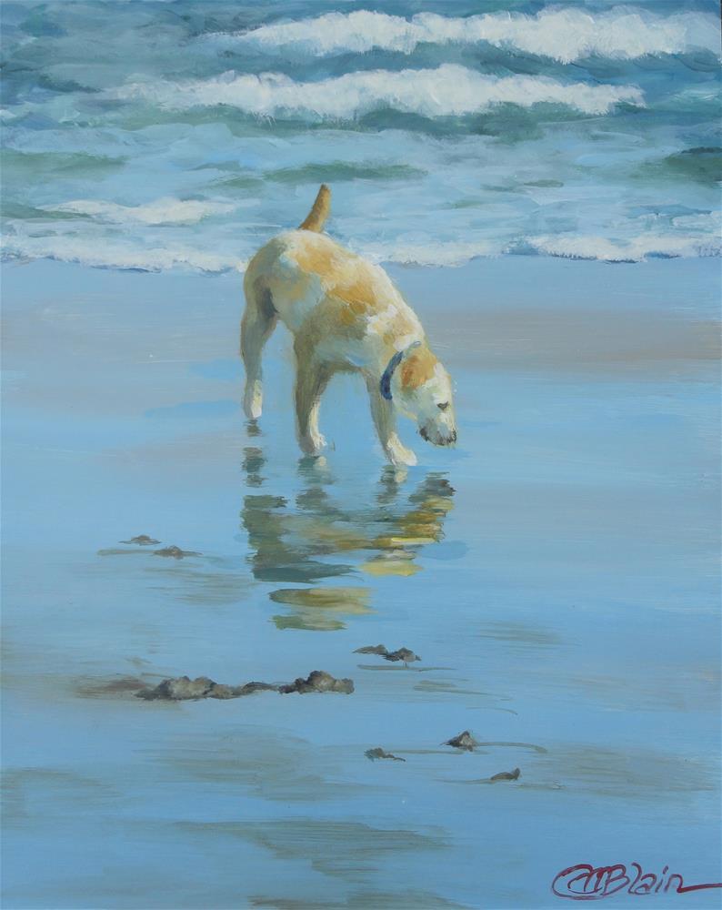 """Dogs on the Beach #5"" original fine art by Christine Blain"