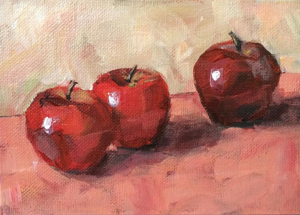 """Three Shiny Apples"" original fine art by Shannon Bauer"