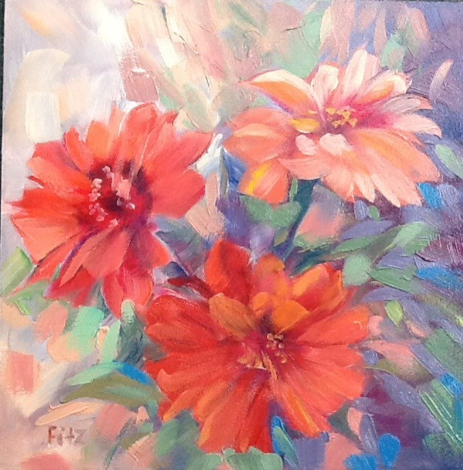 """Colorful Zinnias"" original fine art by Jean Fitzgerald"