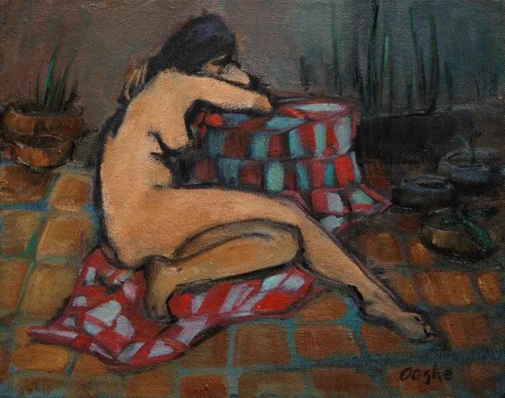 """Nude on Terracotta Floor"" original fine art by Angela Ooghe"