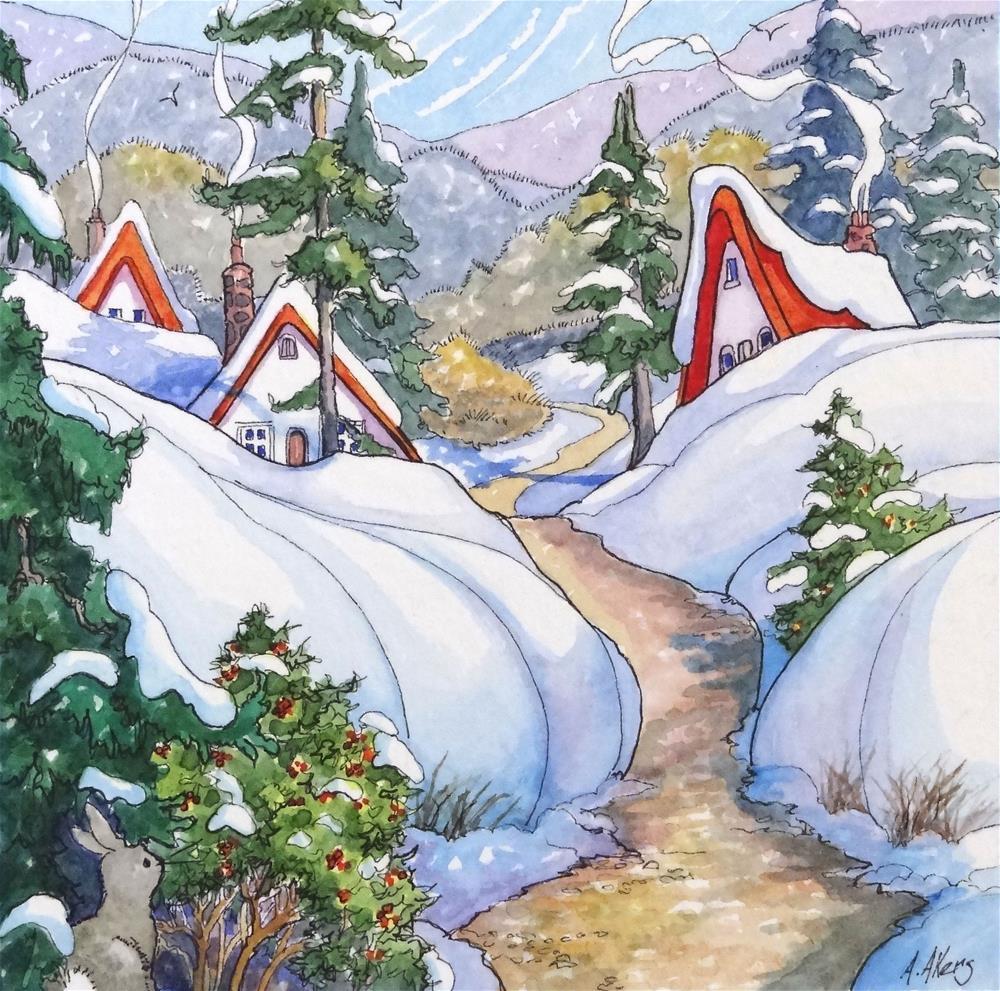 """Winter Neighbors Storybook Cottage Series"" original fine art by Alida Akers"