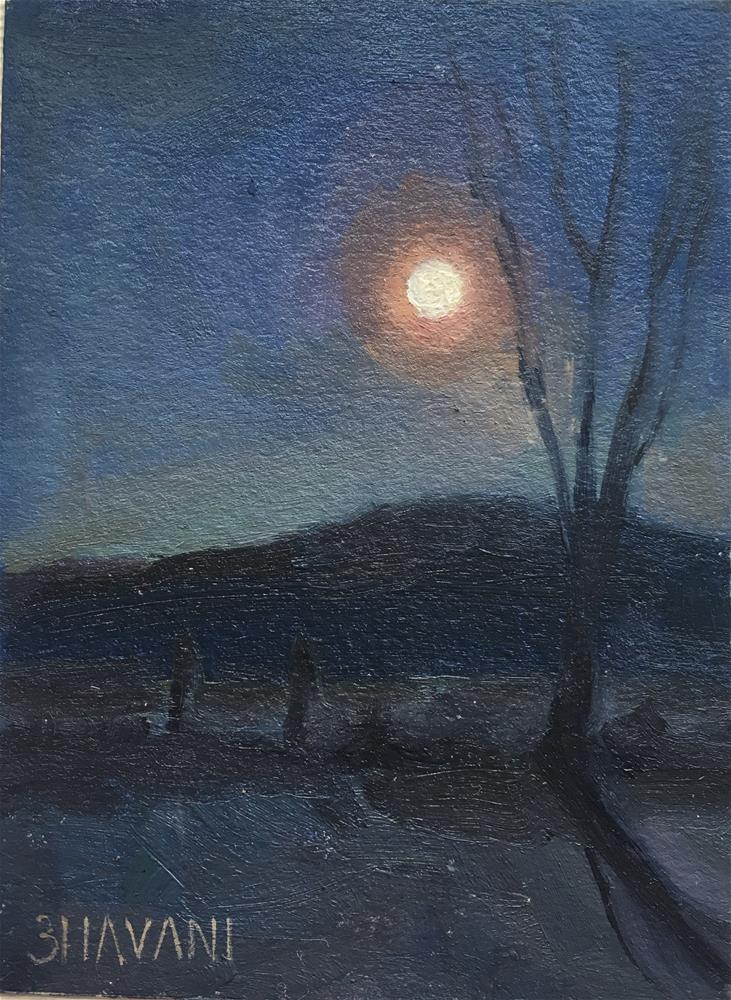 """Full moon rising"" original fine art by Bhavani Krishnan"