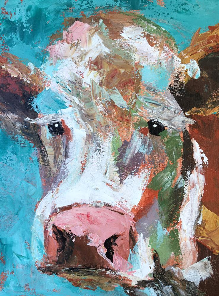 """Cow Class Demo with Palette Knife"" original fine art by Susan Elizabeth Jones"
