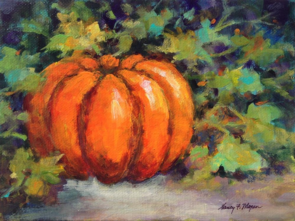 """Pumpkin and Vines"" original fine art by Nancy F. Morgan"