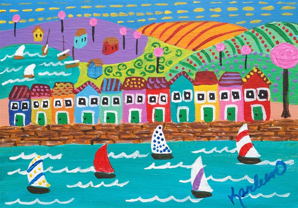 """A Boat Lover's Village"" original fine art by Karleen Kareem"