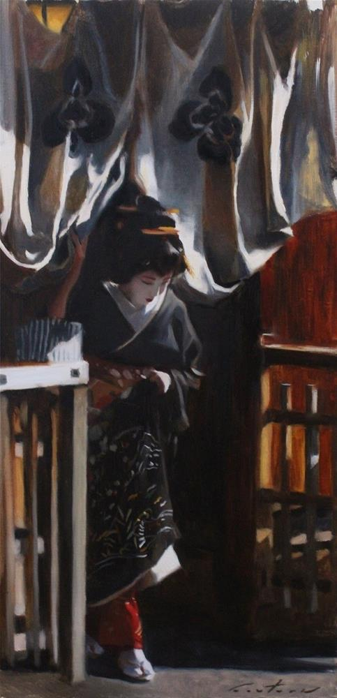 """Emerging from a Teahouse"" original fine art by Phil Couture"