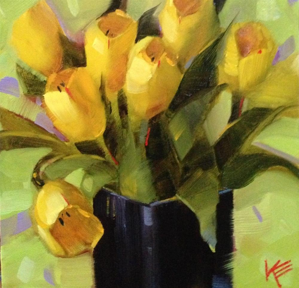 """Yellow on Lime"" original fine art by Krista Eaton"