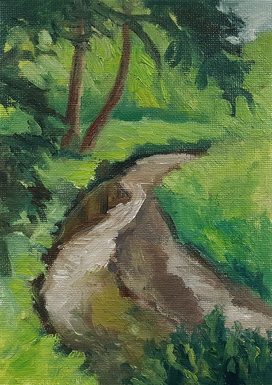 """Stream With Trees"" original fine art by J M Needham"