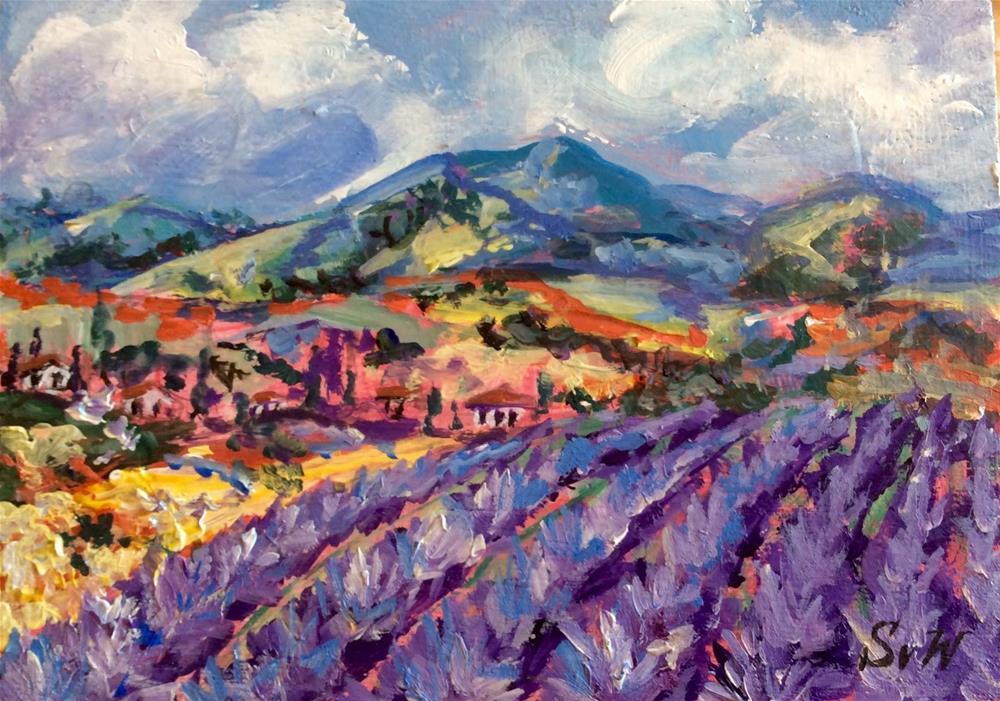 """Province Lavender Field  Landscape"" original fine art by Sonia von Walter"