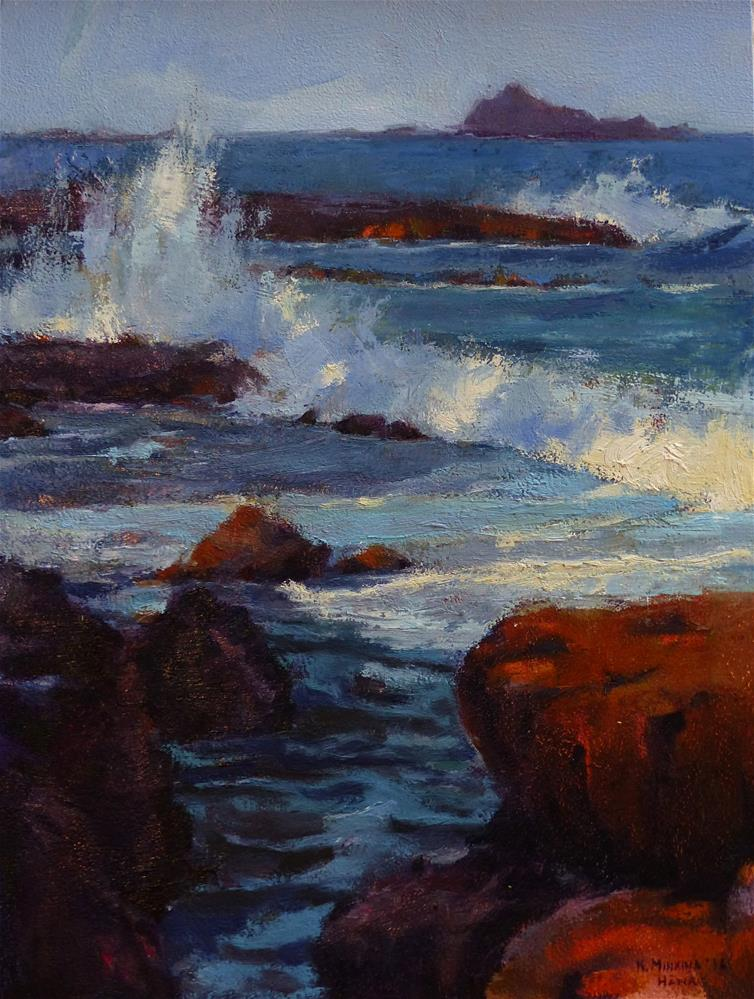 """Maka'alae Surf#2"" original fine art by Katya Minkina"