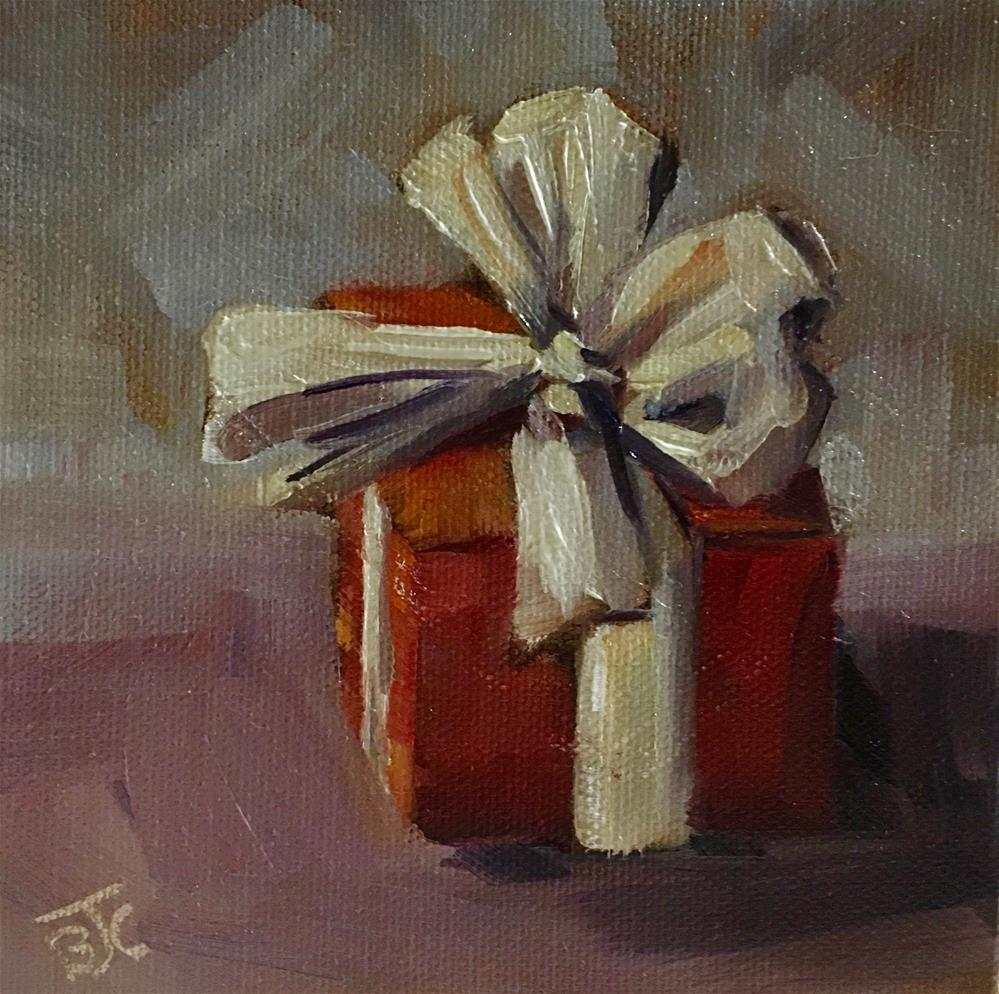 """Whose gift is this?"" original fine art by Bobbie Cook"