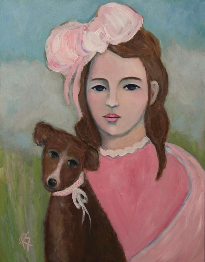 """Ava and Her New Puppy"" original fine art by Roberta Schmidt"