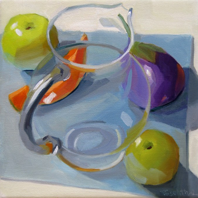 """Pitcher and Fruit"" original fine art by Robin Rosenthal"