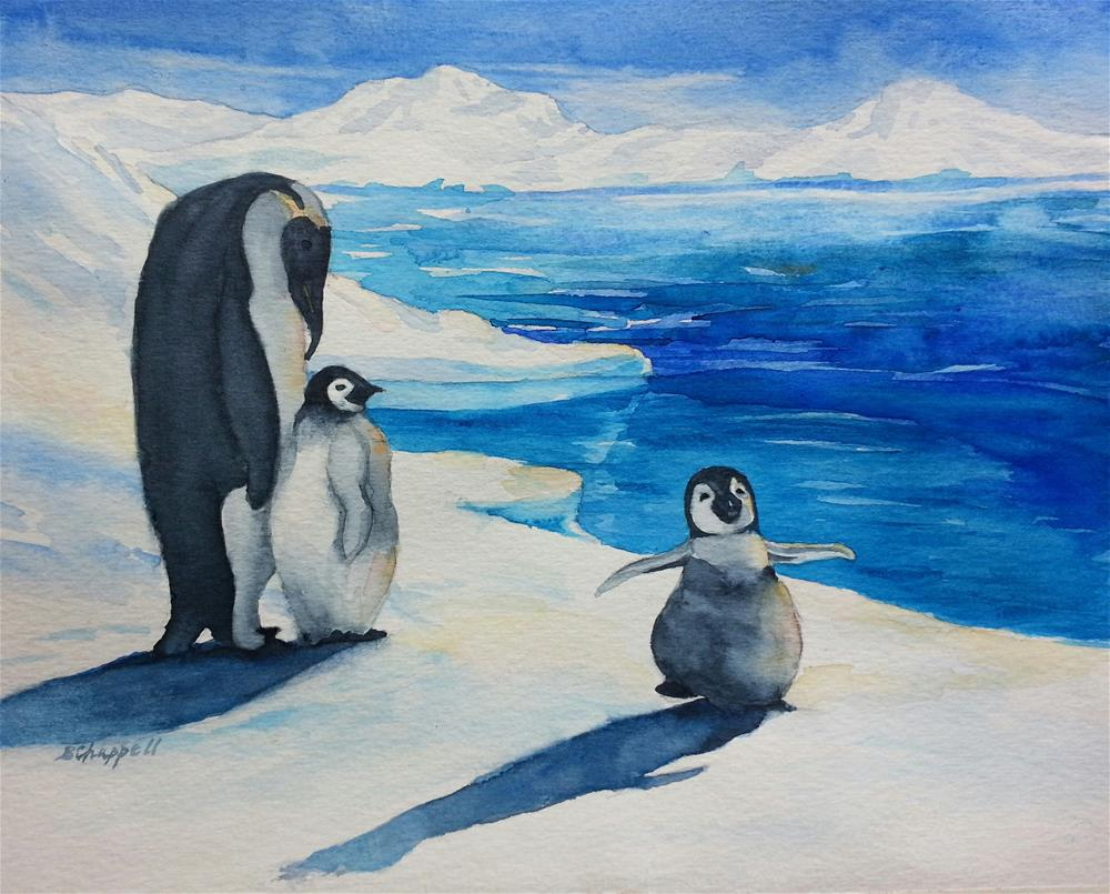 """Three Penguins"" original fine art by Becky Chappell"