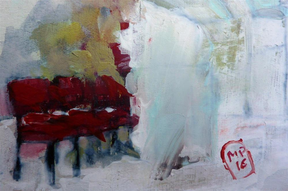 """3 rote Stühle / 3 red chairs"" original fine art by Mila Plaickner"
