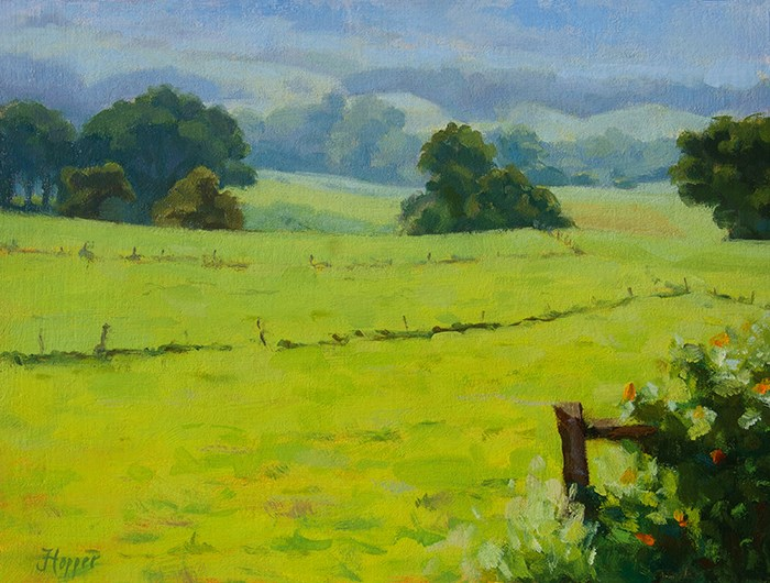 """Morning Field, Kula"" original fine art by Joanne Hopper"