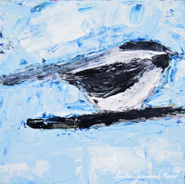"""Blue Chickadee bird Painting"" original fine art by Katie Jeanne Wood"