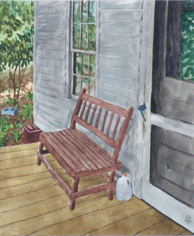 """Porch Bench"" original fine art by Greg Arens"