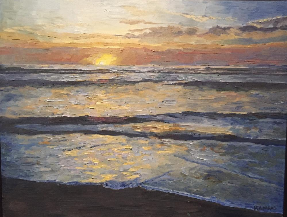 """Golden sunset"" original fine art by Natasha Ramras"