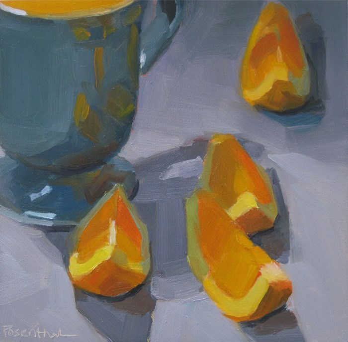 """Orange Slices on Blue"" original fine art by Robin Rosenthal"
