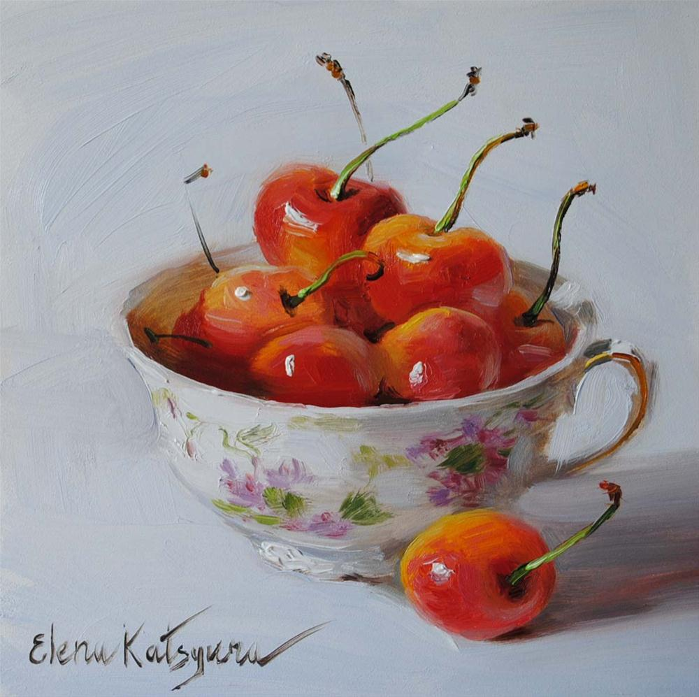 """Cherries in the Cup"" original fine art by Elena Katsyura"