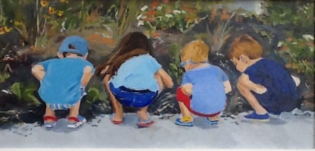 """The four best buddies at Stony Brook"" original fine art by Richard Doyle"