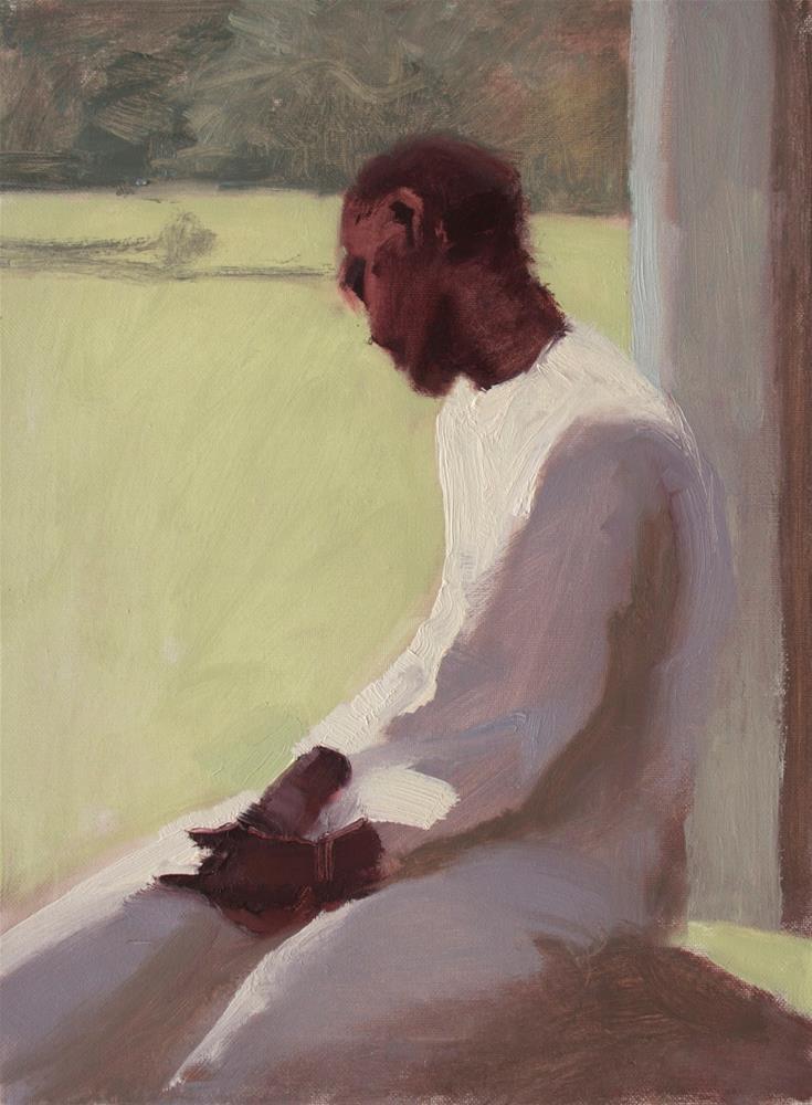 """#113 Kelly meditating"" original fine art by Nancy Wallace"