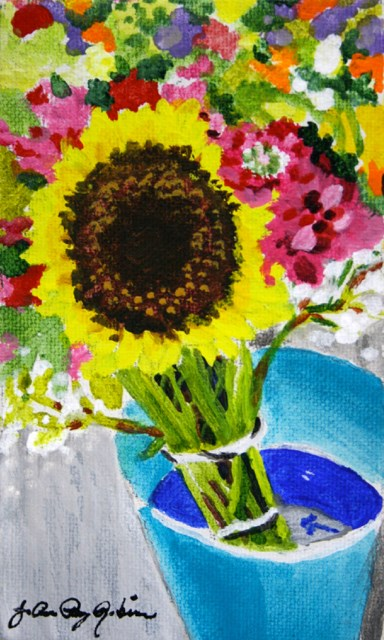 """Big Sunflower and a Blue Bucket"" original fine art by JoAnne Perez Robinson"