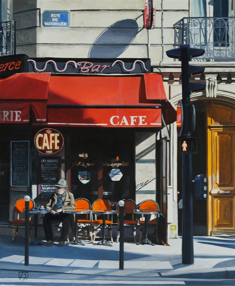 """Cafe le Commerce"" original fine art by Andre Beaulieu"