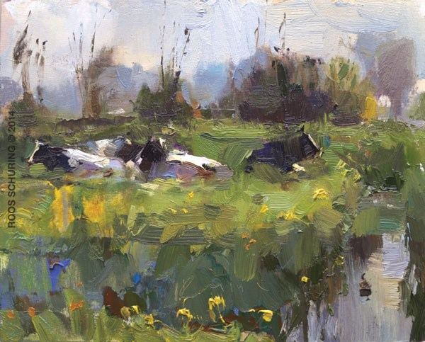 """Painting Cows in Grass Sunny Day (sold)"" original fine art by Roos Schuring"