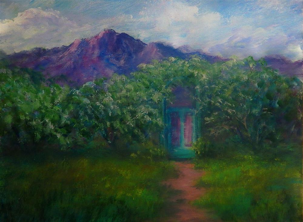"""My Back Yard Gate and Tombstone Roses"" original fine art by Sharon Kay Baker"
