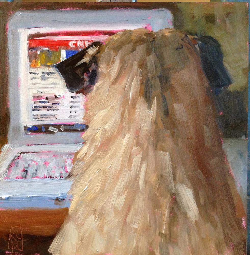 """Pug News, 6x6 Inch Oil Painting of a Pug by Kelley MacDonald"" original fine art by Kelley MacDonald"