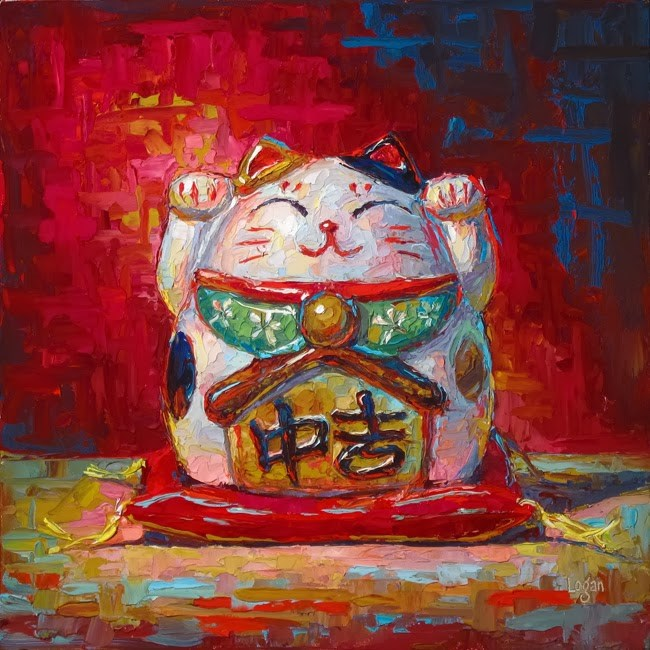 """Lucky Cat Bank Hex"" original fine art by Raymond Logan"