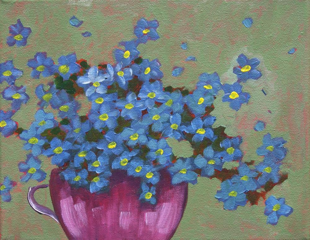 """Tea Cup Forget Me Nots"" original fine art by Sage Mountain"
