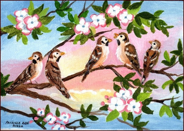 """Little Sparrows"" original fine art by Patricia Ann Rizzo"