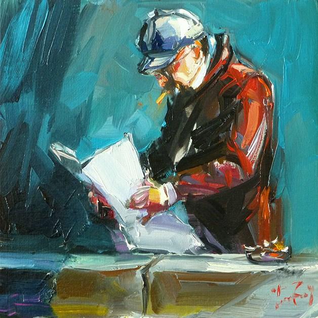 """Lesender"" original fine art by Jurij Frey"