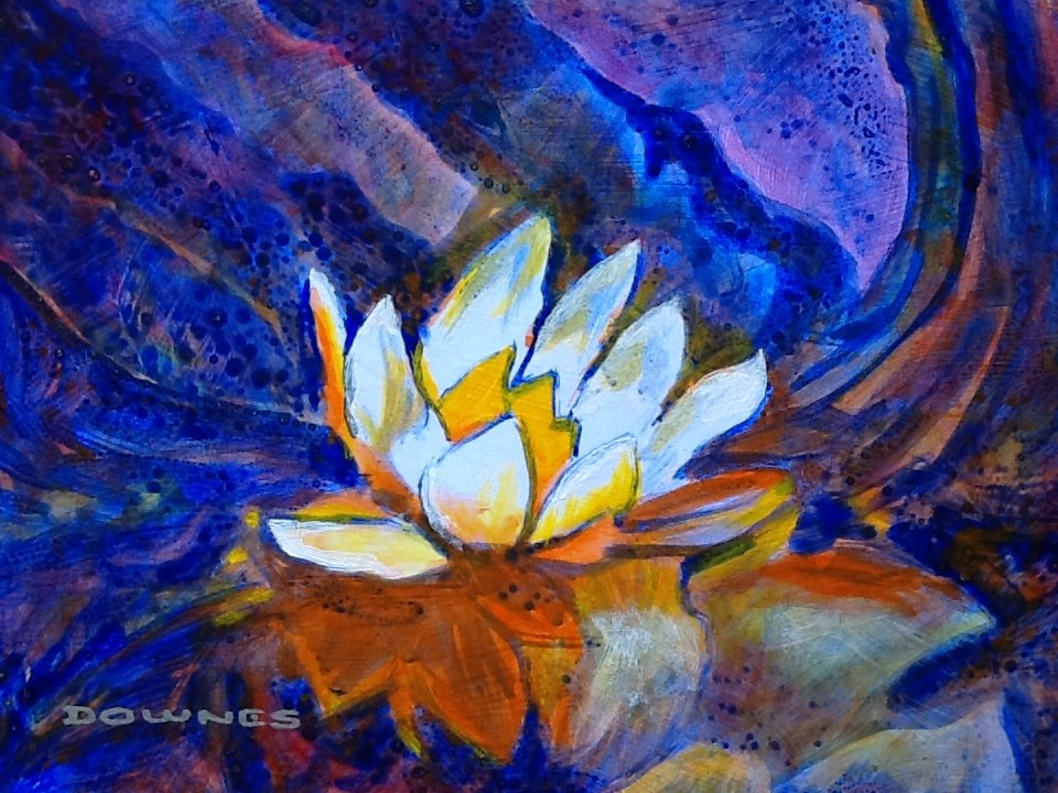 """028 WATERLILLY 1"" original fine art by Trevor Downes"